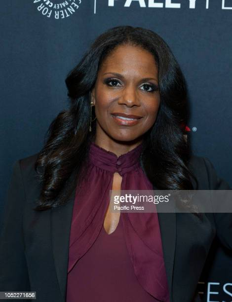 Audra McDonald wearing dress by Michael Kors attends screening of The Good Fight at The Paley Center for Media
