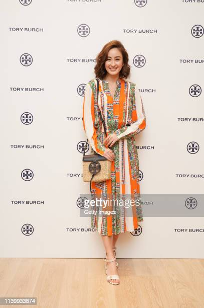 Audrey Ayaka attends the Tory Burch Ginza Boutique Opening on April 02 2019 in Tokyo Japan