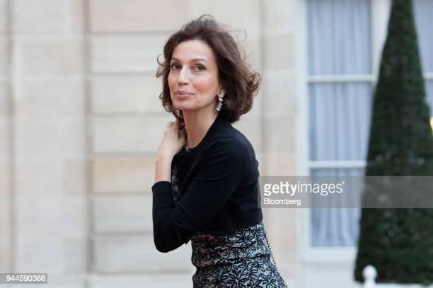 Audrey Azoulay director general of UNESCO arrives at the Elysee Palace ahead of a dinner with Mohammed bin Salman Saudi Arabia's crown prince in...