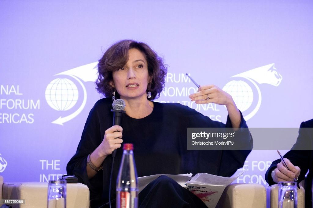 Audrey Azoulay Director General, United Nations Educational, Scientific and Cultural Organization (UNESCO) attends the first edition of the Conference of Paris of the International Economic Forum of the Americas, in Paris, on December 7, 2017 in Paris, France. IEFA organizes annual summits bringing together heads of states, central bank governors, ministers and global economic decision makers. This annual meeting focus on providing a better understanding of the major challenges facing the global economy, with particular attention to relations between Europe and other continents.