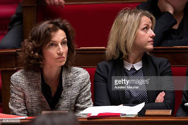 Audrey Azoulay French Minister of Culture and Communication and Barbara Pompili Secretary of State in charge of Biodiversity react during the weekly...