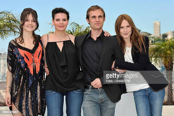 Audrey Bastien Selma El Moussi Fabrice Gobert and Ana Girardot at the photo call for Lights Out during the 63rd Cannes International Film Festival