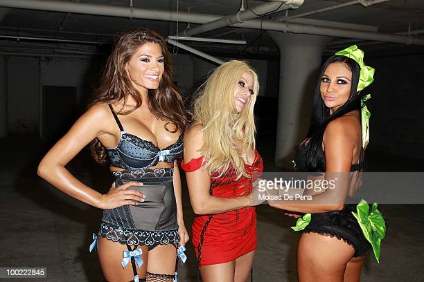 Audrey Bitoni, Gina Lynn and Madelyn Marie attends MYA's album release party at Greenhouse on May 20, 2010 in New York City.