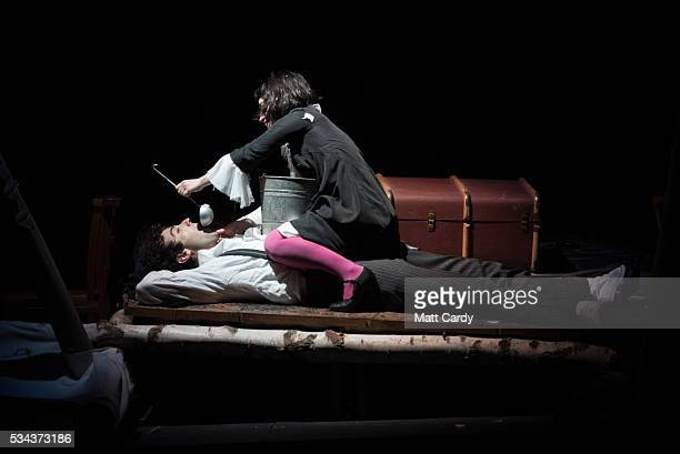 Audrey Brisson and Marc Antolin rehearse The Flying Lovers of Vitebsk which is part of the Bristol Old Vic's 250th anniversary season on May 25 2016...
