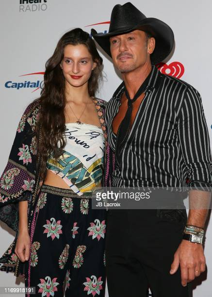 Audrey Caroline McGraw and Tim McGraw attend the 2019 iHeartRadio Music Festival at TMobile Arena on September 20 2019 in Las Vegas Nevada