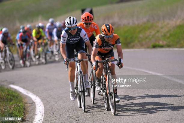 Audrey Cordon of France and Team Trek-Segafredo / Annika Langvad of Denmark and Boels Dolmans Cyclingteam / during the 5th Strade Bianche 2019, Women...