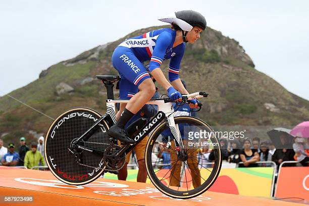 Audrey Cordon of France starts the Cycling Road Women's Individual Time Trial on Day 5 of the Rio 2016 Olympic Games at Pontal on August 10, 2016 in...