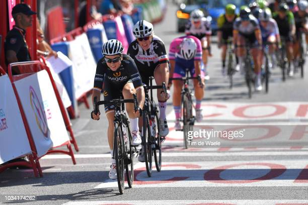 Audrey Cordon Ragot of France and Team Wiggle High5 / Pernille Mathiesen of Denmark and Team Sunweb / during the 4th Madrid Challenge by la Vuelta,...