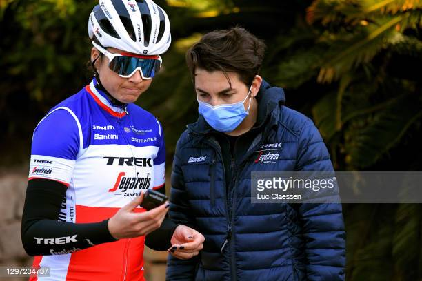Audrey Cordon-Ragot of France and Giorgia Bronzini of Italy Sports director during the Team Trek–Segafredo Women Elite 2021, Training /...
