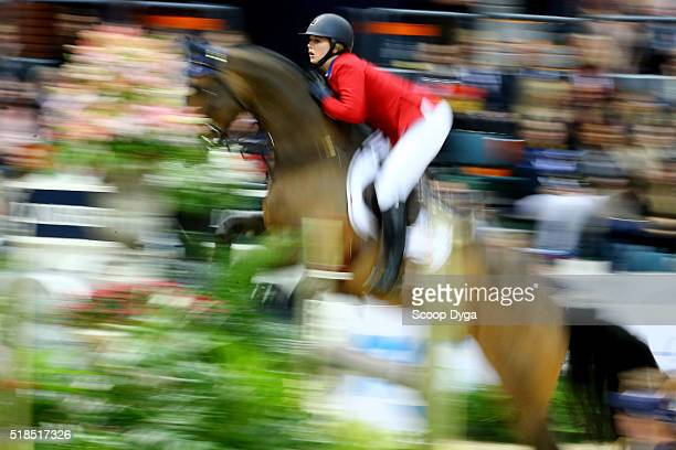 Audrey Coulter of United States of America rides Alex during the Longines FEI World Cup Final Jumping at Scandinavium on March 25 2016 in Gothenburg...