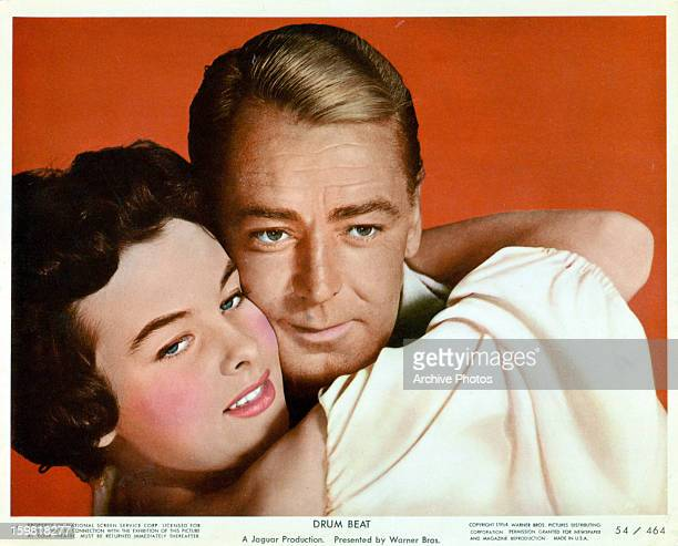 Audrey Dalton and Alan Ladd in publicity portrait for the film 'Drum Beat' 1954