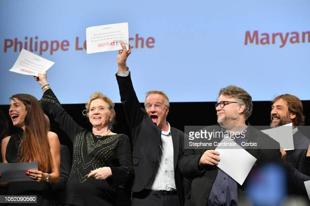 Audrey Dana Liv Ullmann Christophe Lambert Guillermo Del Toro and Javier Bardem attend the opening ceremony during the 10th Film Festival Lumiere on...