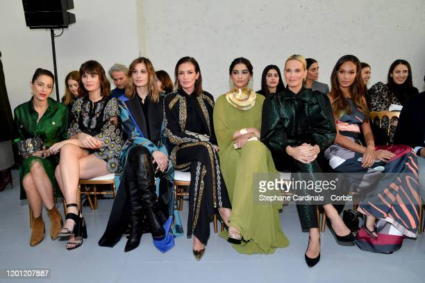 Audrey Dana, Marina Hands, Sveva Alviti , Sonam Kapoor, Molly Sims and Joan Smalls attend the Elie Saab Haute Couture Spring/Summer 2020 show as part...