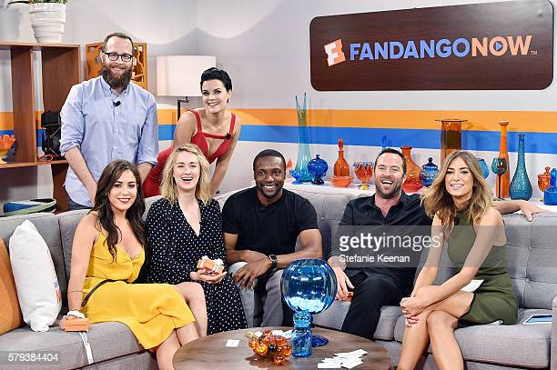 Audrey Esparza Martin Gero Ashley Johnson Jaimie Alexander Rob Brown and Sullivan Stapleton of NBC's Blindspot visit with Fandango host Nikki Novak...