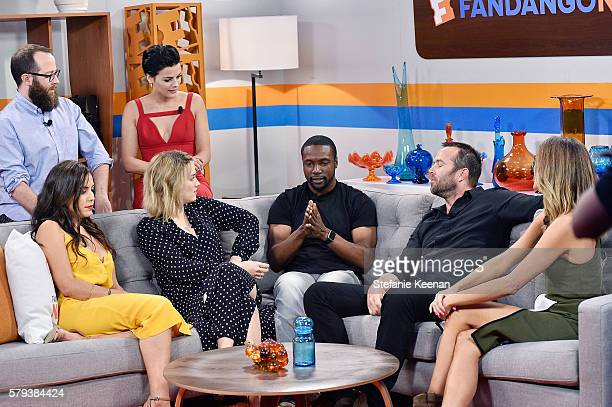 Audrey Esparza Martin Gero Ashley Johnson Jaimie Alexander Rob Brown and Sullivan Stapleton of NBC's Blindspot visit with Fandango host Nikki Novak...
