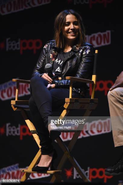 Audrey Esparza speaks onstage during the Blindspot panel 2017 New York Comic Con Day 4 on October 8 2017 in New York City