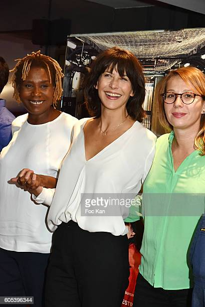 Audrey Estourgo Sophie Marceau and Marie Sohna Conde attend 'La Taularde' Paris Premiere At UGC Cine Cite Les Halles on September 13 2016 in Paris...