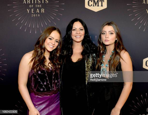Audrey Evans Sara Evans and Olivia Evans attend the 2018 CMT Artists of The Year at Schermerhorn Symphony Center on October 17 2018 in Nashville...