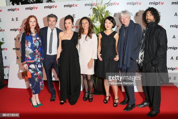 Audrey Fleurot Fred Bianconi Caroline Proust Anne Landois Flore Pellerin and Philippe Duclos arrive at the MIPTV 2017 Opening Party at the Martinez...