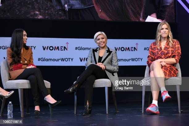 Audrey Gelman Jen Rubio and Tyler Haney speak on stage during Turn A Big Idea Into A Bigger Business panel discussion 2018 Glamour Women Of The Year...