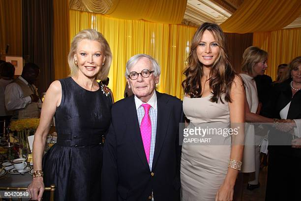 Audrey Gruss, Dominick Dunne, and Melania Trump pose at the Hope for Depression Research Foundation Luncheon at Mar A Lago on March 28, 2008 in Palm...