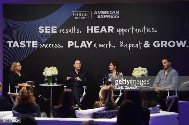 Audrey Hendley Mark Weinstein Susan Portnoy and Nick Brown at a launch event for the Hilton Honors American Express Business Card at the Conrad New...