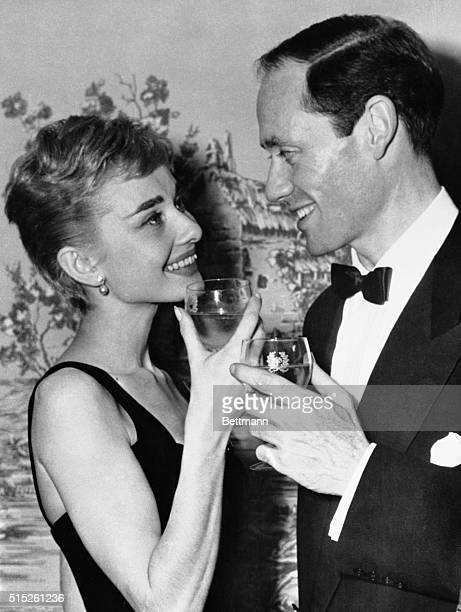 Audrey Hepburn, 25 year old Academy Award winning actress, and actor Mel Ferrer, who costarred with her in the Broadway play Ondine were married in a...