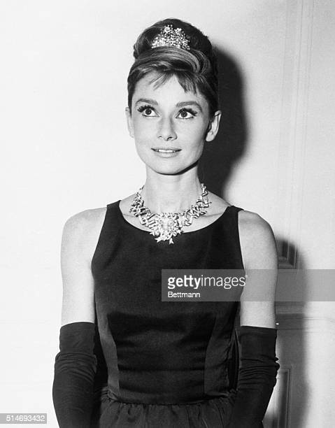 Audrey Hepburn about to begin filming for Breakfast At Tiffany's wears one of the store's most expensive diamond necklaces New York