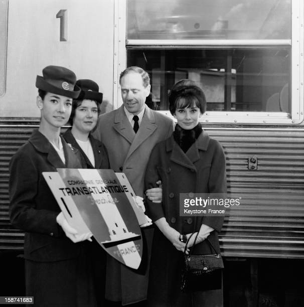 Audrey Hepburn and her husband Mel Ferrer at the Gare St Lazare going by train to Le Havre where they will attend in the evening 'The Bal Des Petits...