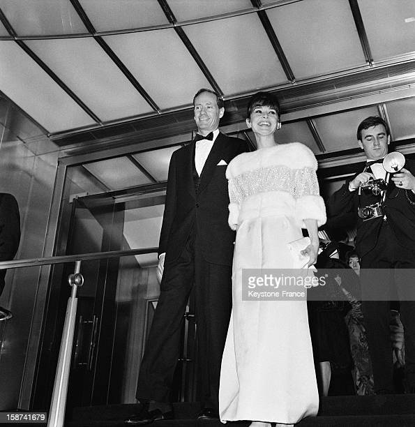 Audrey Hepburn and her husband Mel Ferrer attend 'The Bal Des Petits Lits Blancs' on board of the liner 'France' on January 14 1962 in Le Havre France