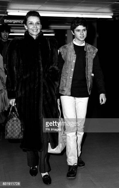 Audrey Hepburn and her son Luca Dotti arriving at Heathrow airport after their flight from Rome