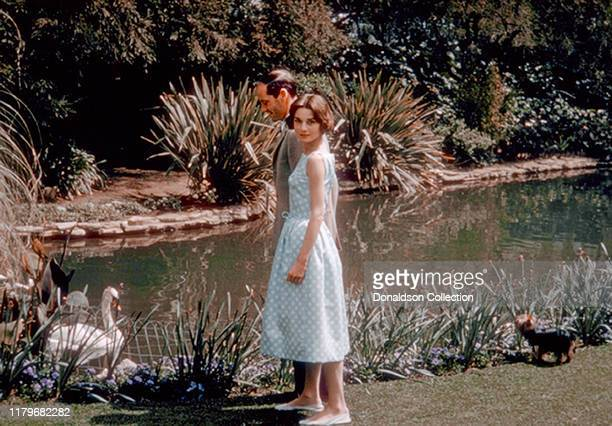 Audrey Hepburn and husband Mel Ferrer at the Bel Air Hotel on Mar 27 1957 in Los Angeles California