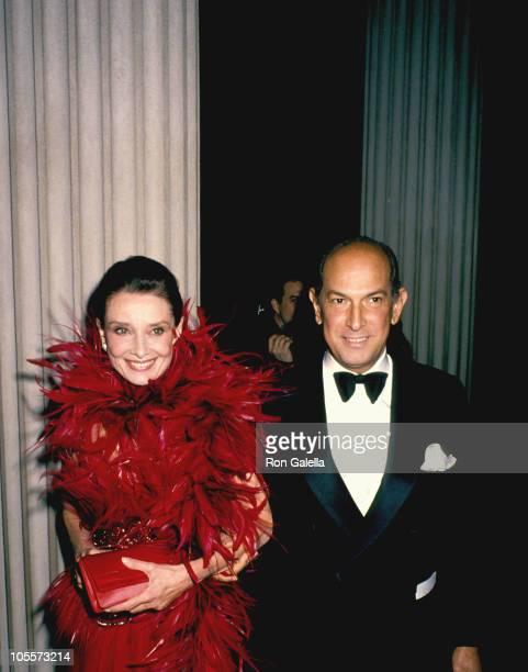Audrey Hepburn and Oscar de la Renta during 1988 Council of Fashion Designers of America Awards at Metropolitan Museum of Art in New York City New...