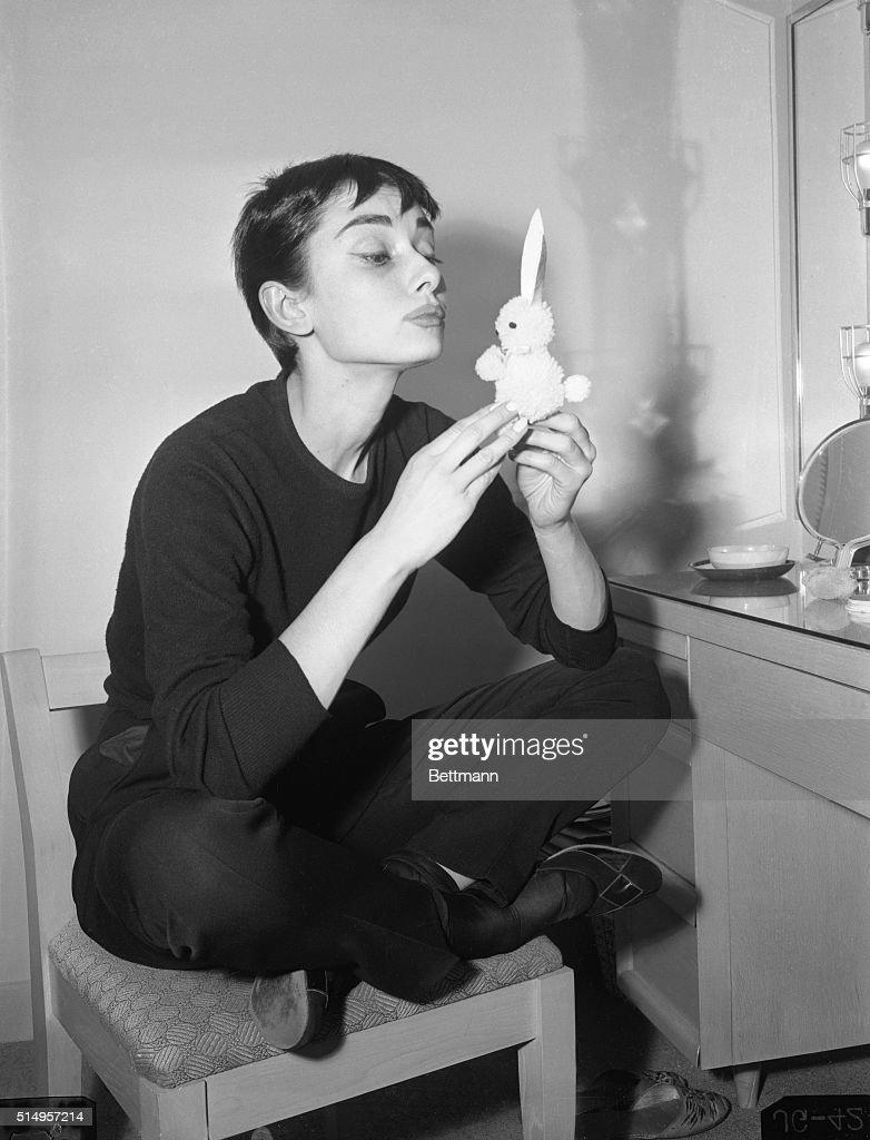 Audrey Hepburn Holding Small Rabbit Charm : News Photo