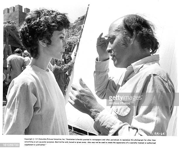 Audrey Hepburn is directed by Richard Lester on set of the film 'Robin And Marian' 1976