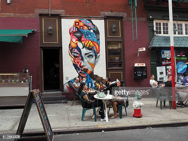 Audrey Hepburn Mural Painting By Tristan Eaton In Mulberry Street, Little Italy, New York City