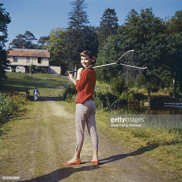 Audrey Hepburn on location for 'Love In the Afternoon' in 1957 near the Chateau de Vitry in Gambais France