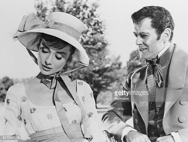 Audrey Hepburn plays it coy with Henry Fonda in a scene from War and Peace which is being filmed in and around Rome Miss Hepburn plays Natasha and...