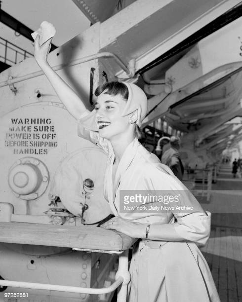 Audrey Hepburn star of Broadway play Gigi sails for Europe to make Roman Holiday with Gregory Peck