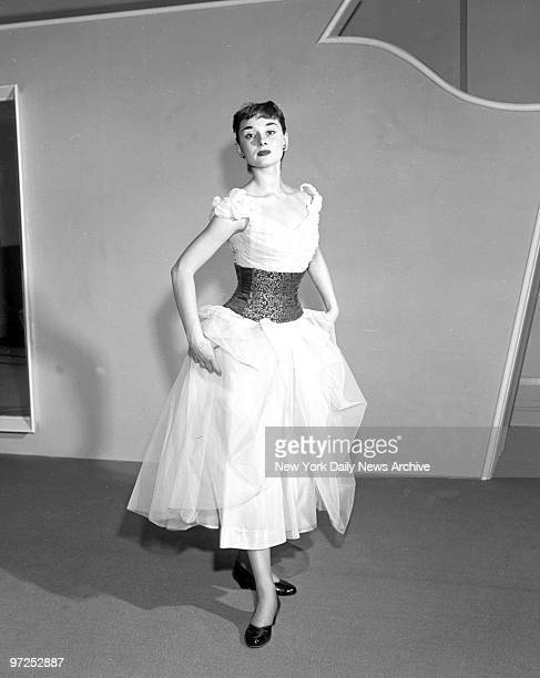 Audrey Hepburn star of Broadway play Gigi shows new waist nippers