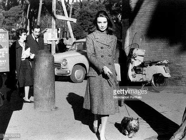 Audrey Hepburn the famous British actress walking on the road holding a dog on the lead the actress is under the scrutiny of reporters for...