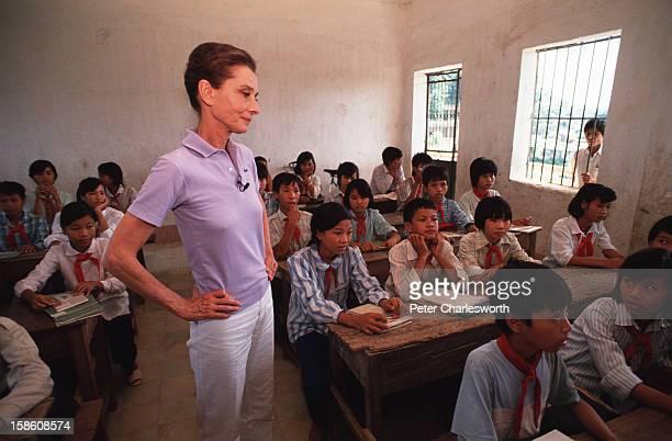 Audrey Hepburn, UNICEF's Goodwill Ambassador, visits a UNICEF sponsored school on the outskirts of Hanoi..