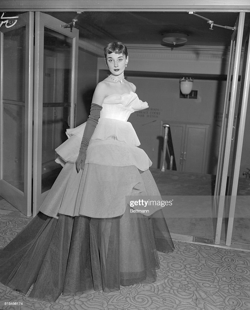 Audrey Hepburn Wearing Tiered Evening Gown Pictures | Getty Images
