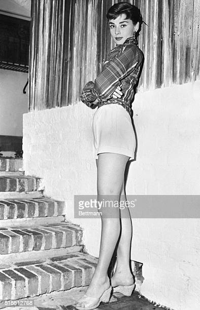 Audrey Hepburn Wearing Shorts at Bottom of Steps