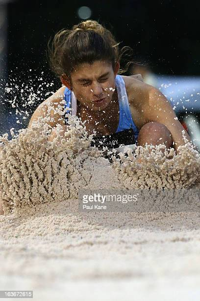 Audrey Kyriacou of New South Wales competes in the women's u18 long jump during day three of the Australian Junior Championships at the WA Athletics...