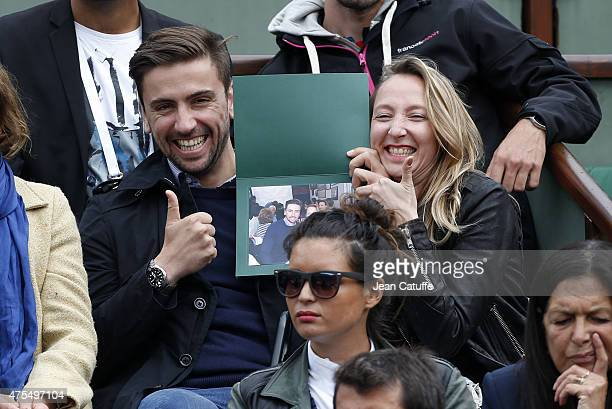 Audrey Lamy and her boyfriend Thomas Sabatier attend day 8 of the French Open 2015 at Roland Garros stadium on May 31 2015 in Paris France