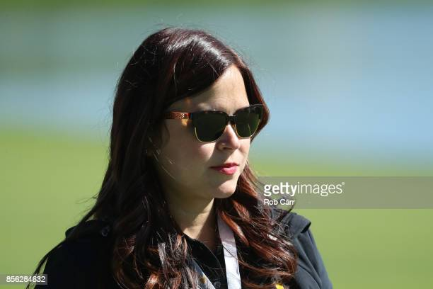 Audrey Leishman wife of Marc Leishman of Australia and the International Team looks on during Sunday singles matches of the Presidents Cup at Liberty...