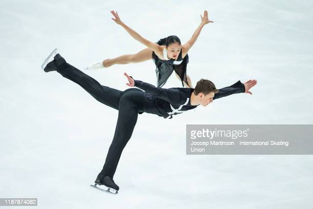 Audrey Lu and Misha Mitrofanov of the United States compete in the Pairs Short Program during day 1 of the ISU Grand Prix of Figure Skating...
