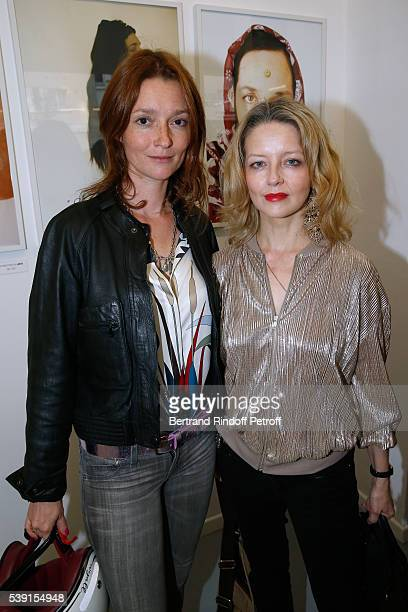 Audrey Marnay and actress Laure Marsac attend the 55 Politiques Exhibition of Stephanie Murat's Pictures Opening Party at Galerie Dupin on June 9...