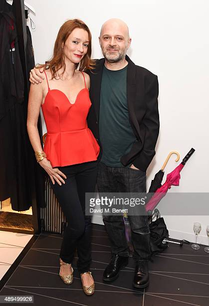 Audrey Marnay and Hussein Chalayan attend as Hussein Chalayan celebrates 21 years in fashion at the CHALAYAN Mayfair Store on September 21 2015 in...
